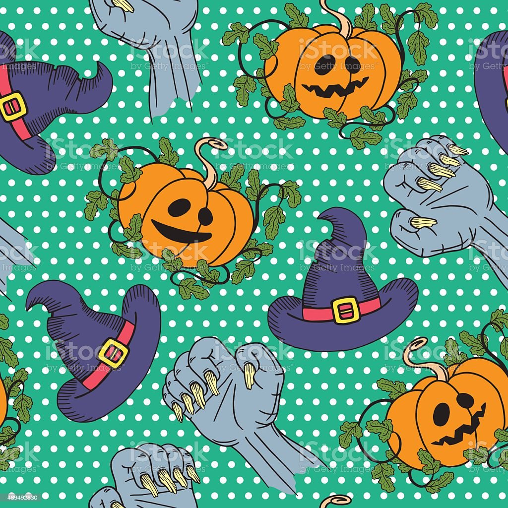 vector halloween pattern seamless background with pumpkin wizard
