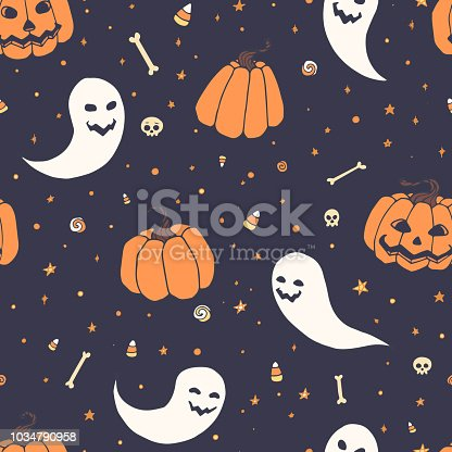 Vector Halloween repeat pattern with pumpkins, ghosts with scary faces, bones, skulls and candy corn in sketch style. Hand drawn autumn holiday decoration on the blue starry background. Usable for wrapping paper, etc.