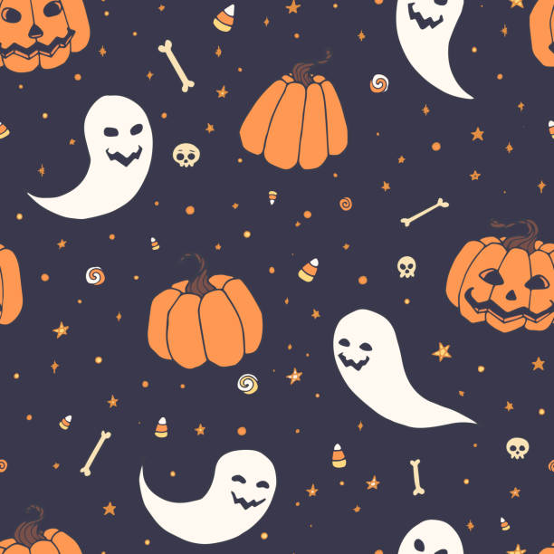 vector halloween repeat pattern with pumpkins, ghosts with scary faces, bones, skulls and candy corn in sketch style. hand drawn autumn holiday decoration on the blue starry background. usable for wrapping paper, etc. - halloween candy stock illustrations