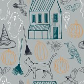 Vector halloween seamless pattern with house, ghosts and pumkins
