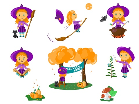 Vector Halloween set with little witch