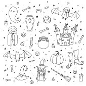 Vector Halloween set with pumpkins, ghosts, vampire, witch, hat, broom, cauldron, house, bats, bones, skulls and candy corn outline in sketch style. Hand drawn autumn holiday collection of line art on the starry white background.