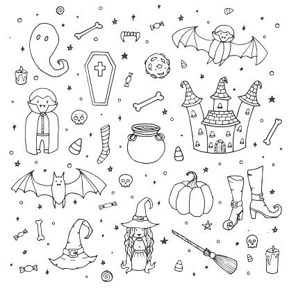 Vector Halloween Sertie De Citrouilles Fantômes Vampire Sorcière Chapeau Balai Chaudron Maison Chauvessouris Os Crânes Et Des Bonbons Maïs Aperçu Dans