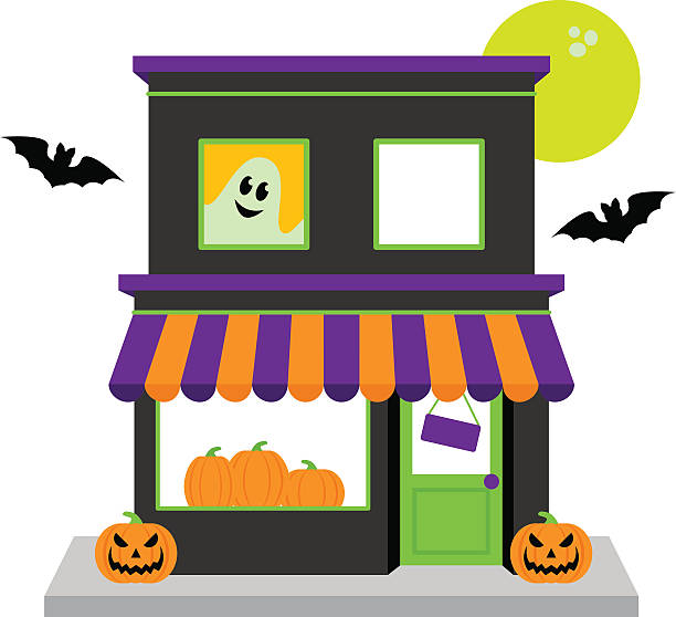 Vector Halloween Shop with Pumpkins, Moon and Spooky Accessories Vector Halloween Shop with Pumpkins, Moon and Spooky Accessories. No transparencies or gradients used. Large JPG included. Each element is individually grouped for easy editing. spooky halloween town stock illustrations