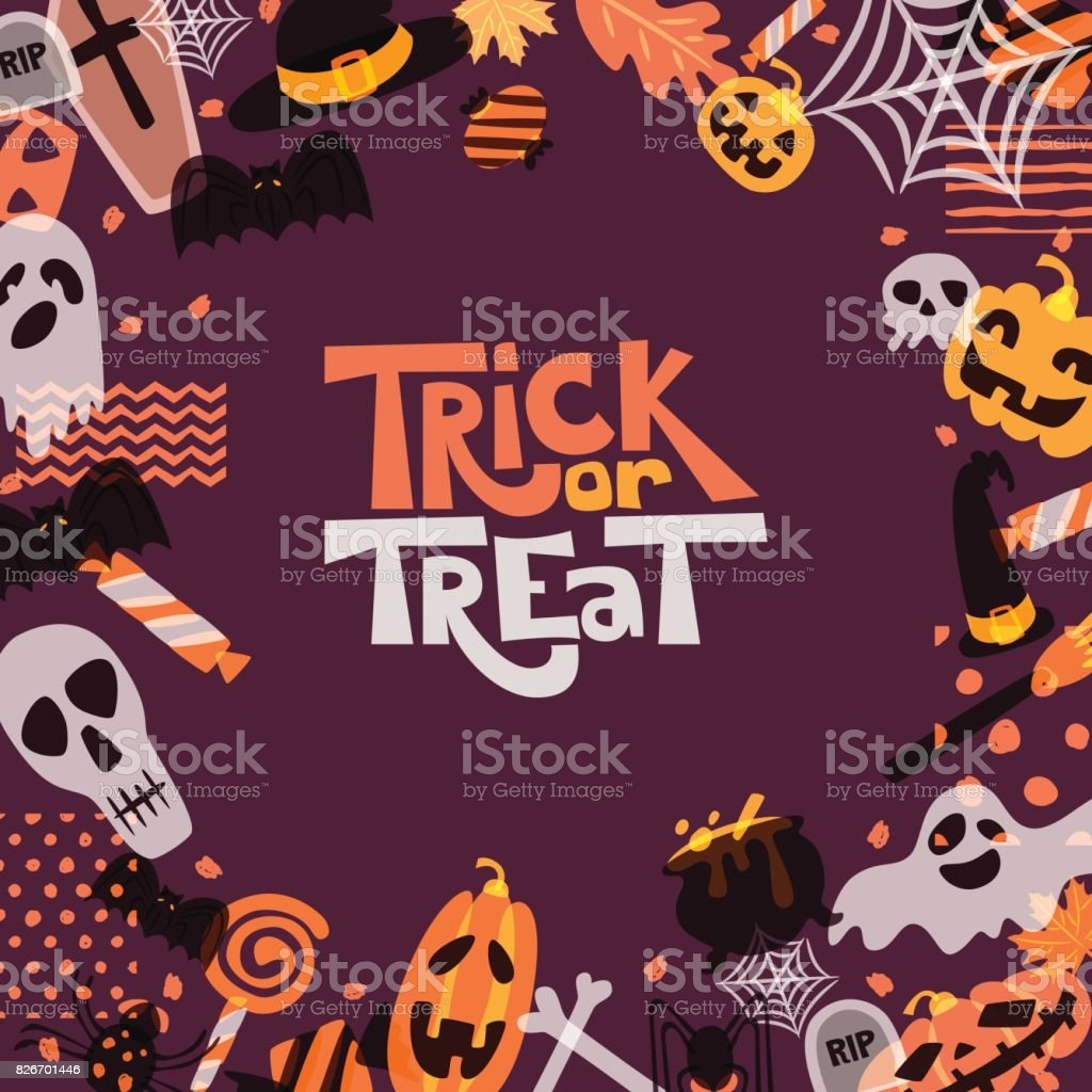 Marco cuadrado de vector Halloween con mano doodle dibuja calabaza, Calavera, sombrero de bruja, huesos, caramelos, fantasma, escoba, caldero. - ilustración de arte vectorial