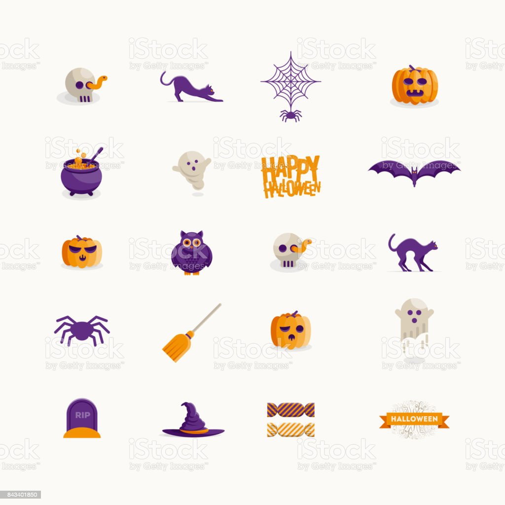 Vector Halloween symbol design set vector art illustration