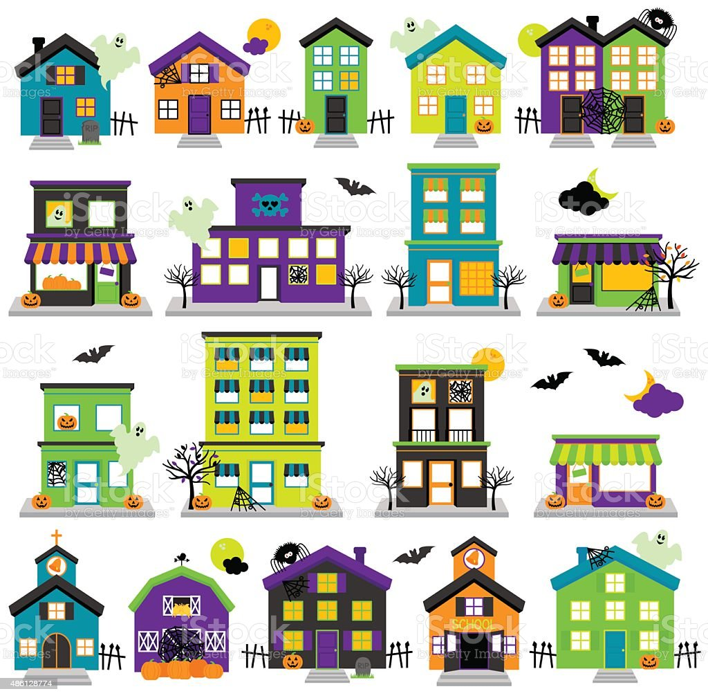 vector halloween town with haunted houses shops stock vector art