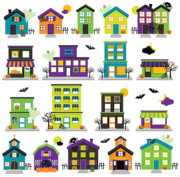 Vector Halloween Town with Haunted Houses, Shops Vector Halloween Town with Haunted Houses, Shops, School, Church and Buildings. No transparencies or gradients used. Large JPG included. Each element is individually grouped for easy editing. spooky halloween town stock illustrations