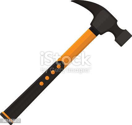 istock Vector hammer in flat design isolated on white background 501424012