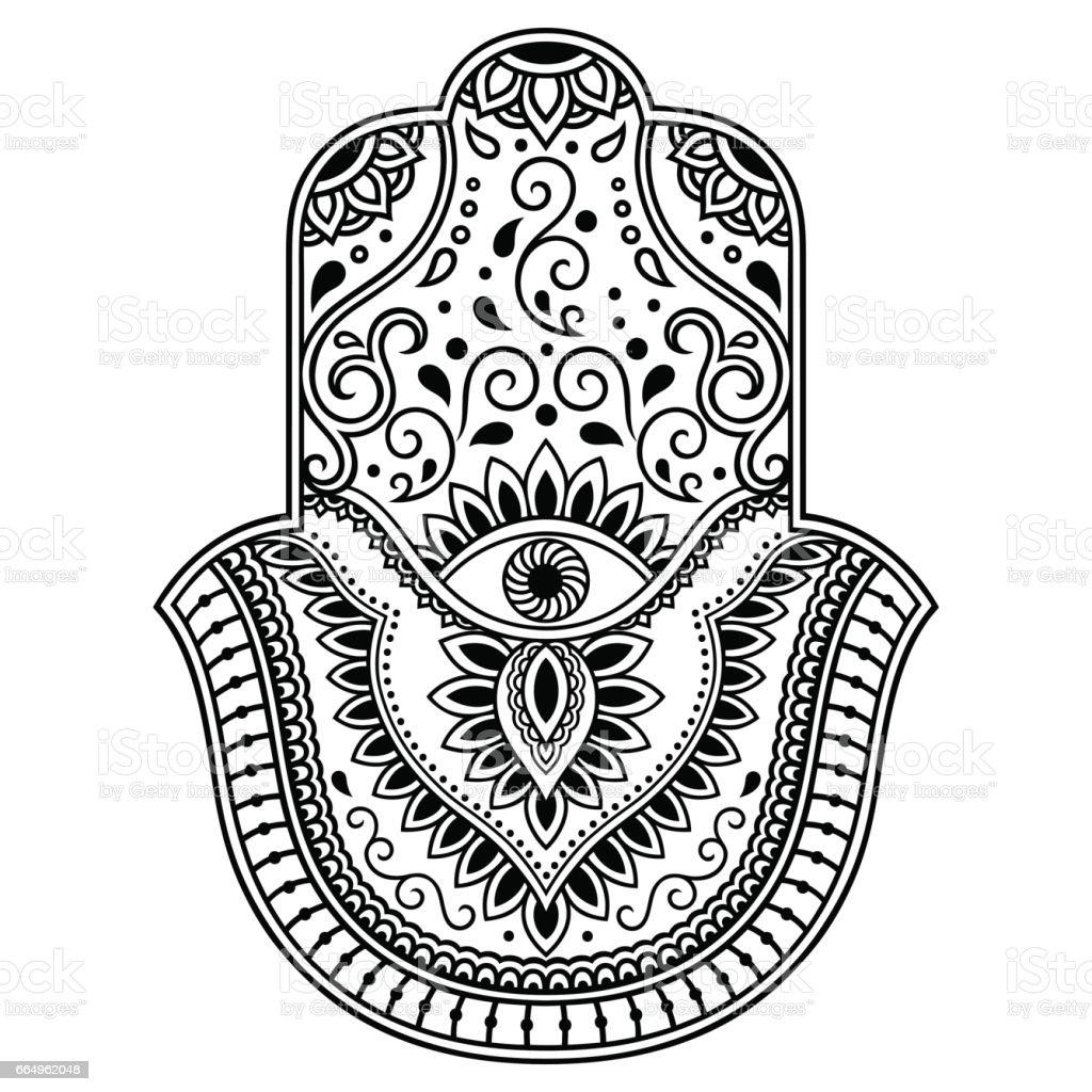 Vector Hamsa Hand Drawn Symbol Decorative Pattern In Oriental Style