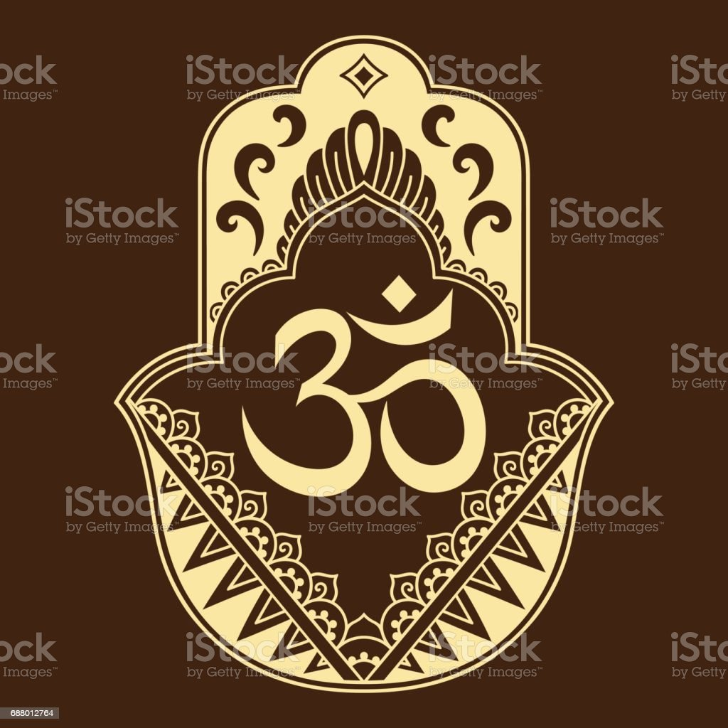 Vector hamsa hand drawn symbol. OM decorative symbol. Decorative pattern in oriental style for the interior decoration and drawings with henna. The ancient symbol of the ' Hand of Fatima '. vector art illustration