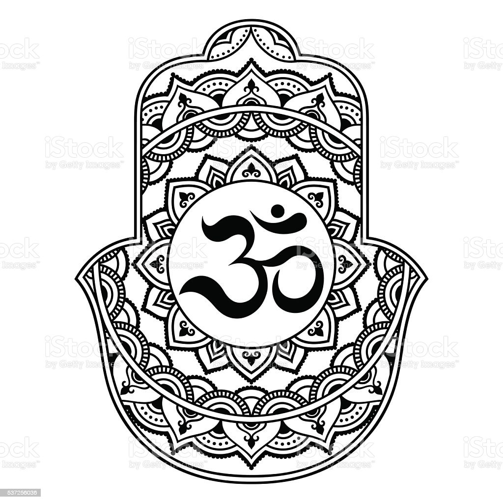 Vector Hamsa Hand Drawn Symbol OM Decorative Royalty Free