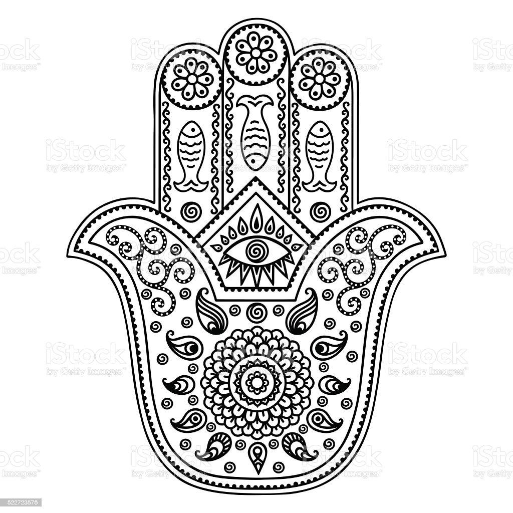 vector hamsa hand drawn symbol stock vector art 522723576 istock. Black Bedroom Furniture Sets. Home Design Ideas