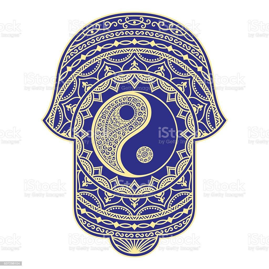 Vector hamsa hand drawn symbol. Yin-yang decorative symbol