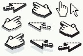 Isometric and flat version of an hand and an arrow pointer. 3d effect and shadow.