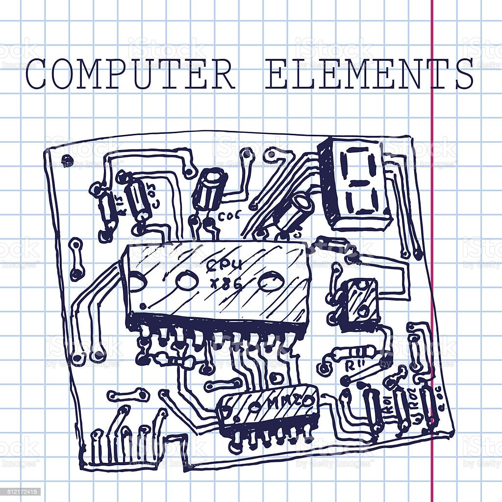 Vector hand draw computer circuit board on paper. Eps10 vector art illustration