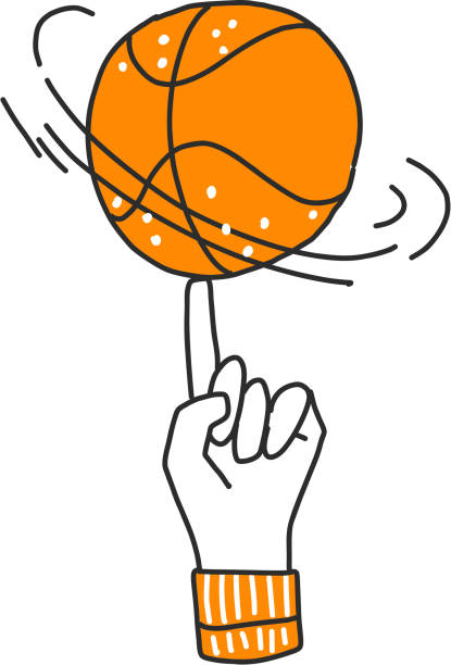 Vector hand draw illustration of basketball ball on a finger. Professional basketball game trick. Rotating basketball on a finger, vector sketch lined icon isolated on white Vector hand draw illustration of basketball ball on a finger. Professional basketball game trick. Rotating basketball on a finger, vector sketch lined icon isolated on white background stunt stock illustrations
