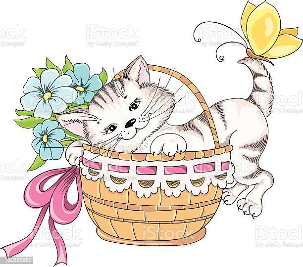 Vector hand drawing kitty and bouquet of flowers in basket vector id160585682?b=1&k=6&m=160585682&s=612x612&h=3y4cx7pfqp9sjnwmfuqoa1klpf2geac0rssl7ivpwks=