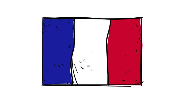 ベクトル手フランス国旗の図面スケッチ図 ベクターアートイラスト