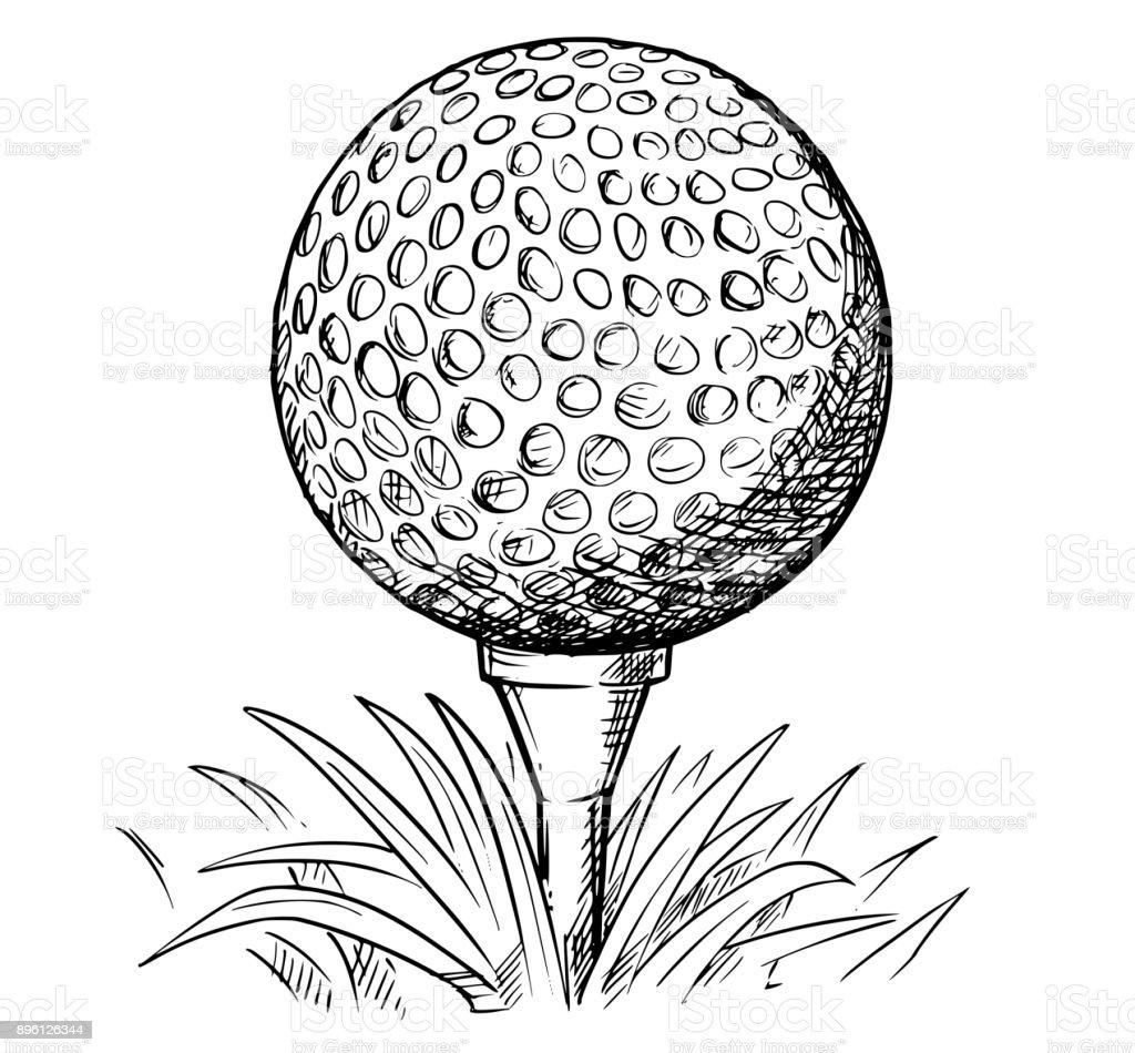Ilustración De Vector Mano Dibujo De Pelota De Golf En El Tee Y Más