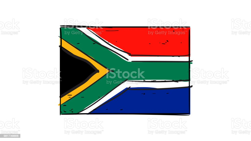 Vector hand drawing of South Africa flag sketch illustration vector art illustration