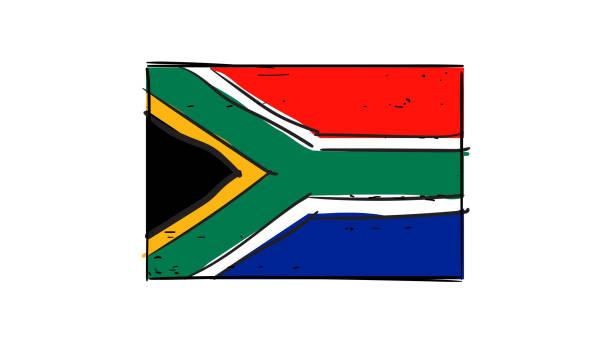 bildbanksillustrationer, clip art samt tecknat material och ikoner med vector hand ritning av sydafrika flagga skiss illustration - south africa