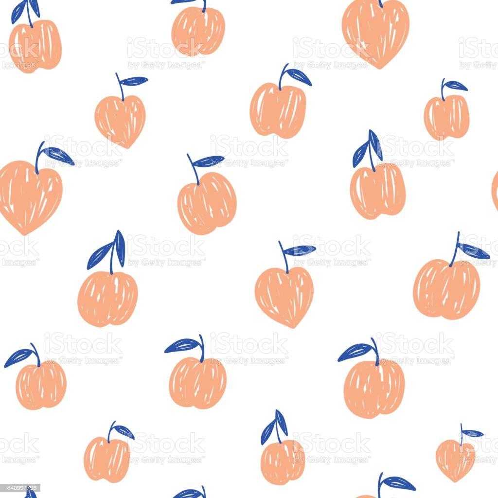 ベクトル手図面簡単な桃のシームレスなパターンです白い背景の上の果物
