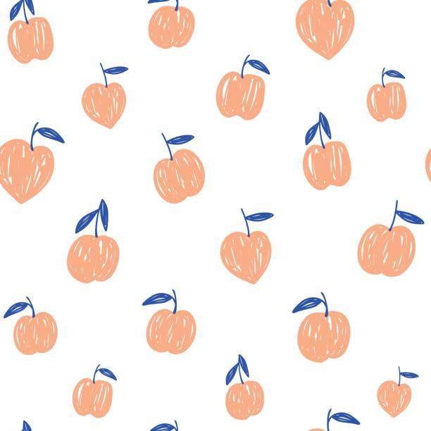 illustrazioni stock, clip art, cartoni animati e icone di tendenza di vector hand drawing simple peaches seamless pattern. fruit illustration on a white background - pesche bambino