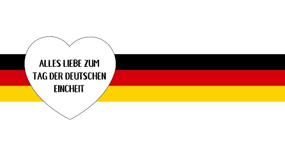 """Vector hand drawn """"Alles Liebe zum Tag der deutschen Eincheit"""" quote in German, translated """"All the Best to German Unity day"""". Lettering for card, banner, ad, poster, print, gift decoration."""