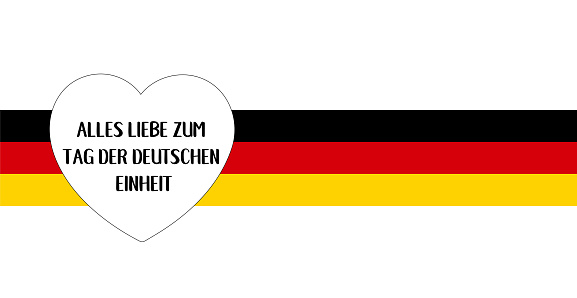 """Vector hand drawn """"Alles Liebe zum Tag der deutschen Einheit"""" quote in German, translated """"All the Best to German Unity day"""". Lettering for card, banner, ad, poster, print, gift decoration."""