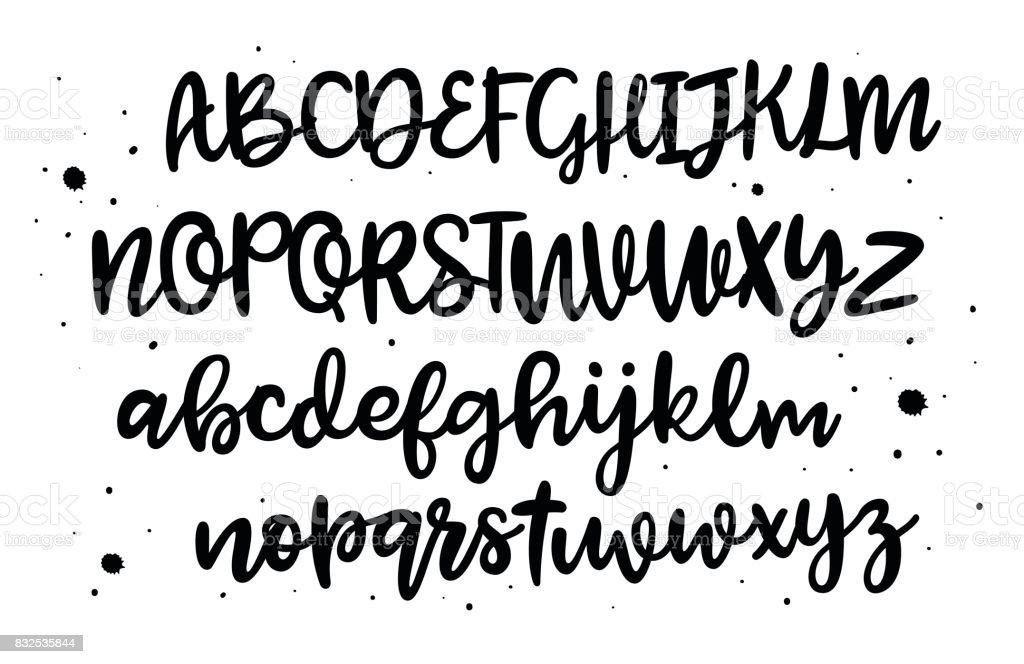 Ilustración De Alfabeto Dibujado De La Mano De Vector Cepillo De Letras Pintadas Alfabeto De La Escritura Manuscrita Tipografía De Letrar Y