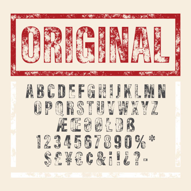 Vector hand drawn alphabet. Brush painted letters. Hand drawn letterpressed font in retro stamp style. Vintage textured grunge alphabet with scratches. Vector brush painted script letters. postage stamp stock illustrations