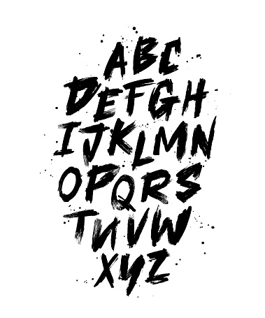 Vector Hand Drawn Alphabet Font. Brush painted letters.