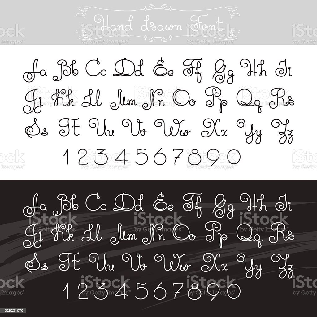 Vector Hand Drawn Alphabet Lines Font Design Letters Numbers