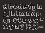 Part 2 of 3. Vector hand drawn alphabet chalk doodle with hatching isolated on black background, abc sans serif symbols lowercase, question and exclamation mark, dash, punctuation signs and atmark