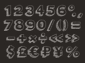 Part 3 of 3. Vector hand drawn chalk doodle with hatching isolated on black background numbers, brackets, mathematical and money signs dollar, pound sterling, euro, ruble and the yen