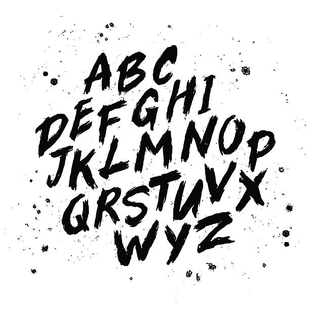 Vector hand drawn alphabet Vector hand drawn alphabet. Brush painted letters. Handwritten script alphabet. Hand lettering and custom typography for your designs: logo, for posters, invitations, cards, etc. Vector type. alphabet drawings stock illustrations