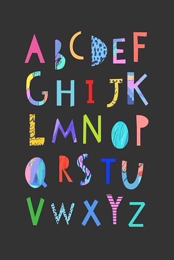 Vector Hand Drawn Artistic Alphabet . Cutout letters. Typeface.