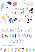 Vector Hand Drawn Artistic Alphabet . Cutout letters. Typeface. Font. Isolated