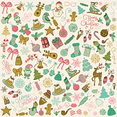 Vector Hand Drawn Artistic Christmas Doodles Clip-art.
