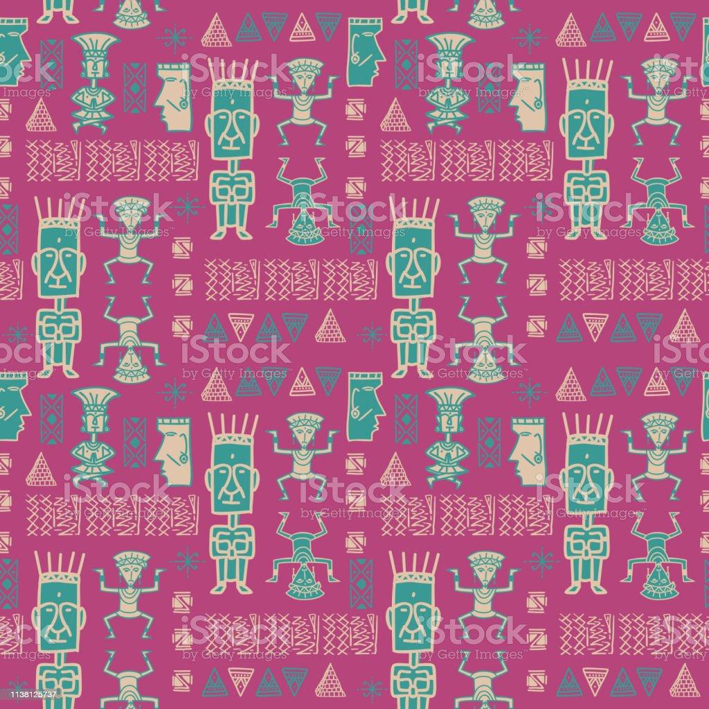 Vecteur Dessine A La Main Motif Azteque Avec Un Symbole Hieroglyphique Sans Soudure Fond Decran Colore Arriereplan Tribal Pour Lemballage De Mode Feminine Et Impression Textile Vecteurs Libres De Droits Et Plus