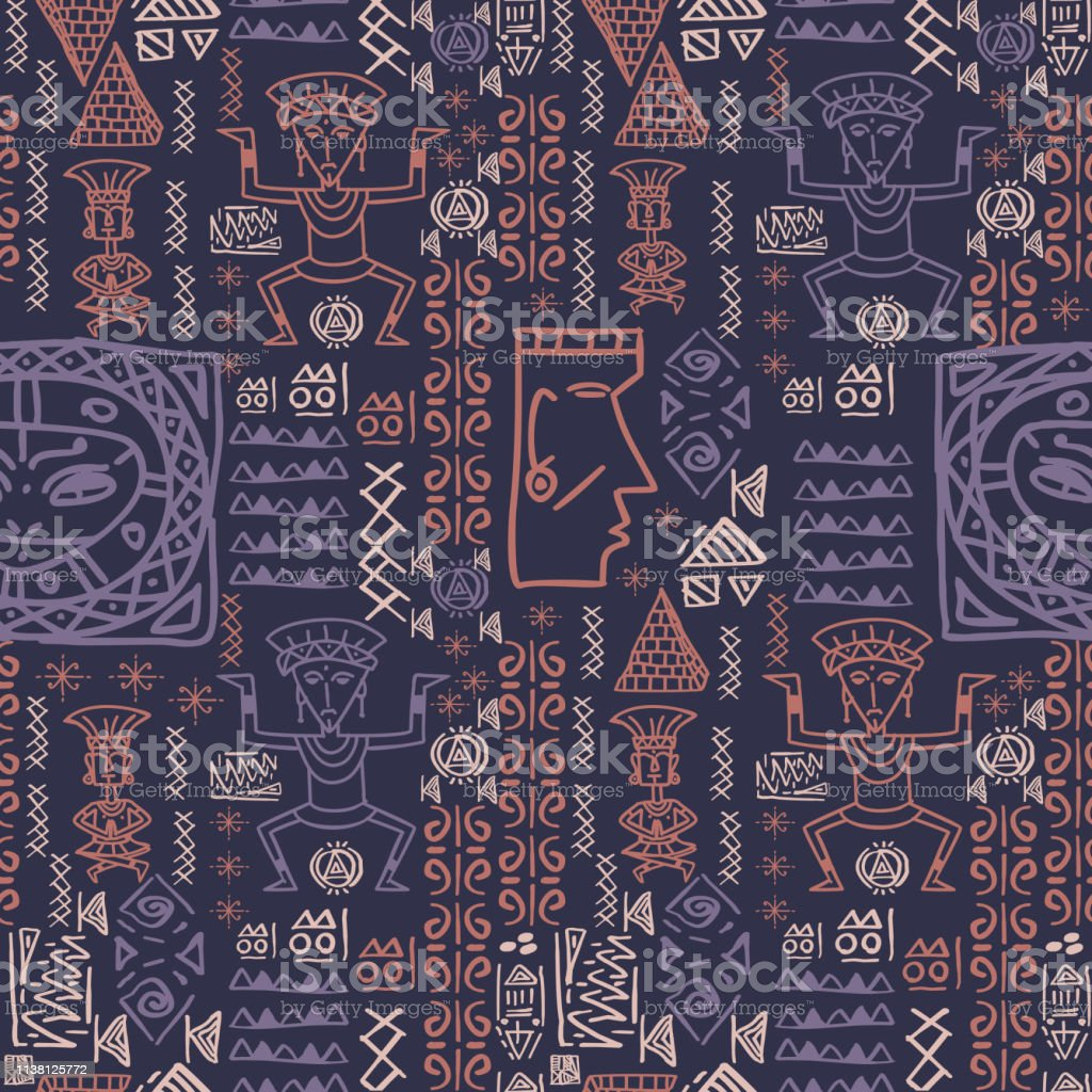 Vector Hand Drawn Aztec Pattern With Seamless Hieroglyphic