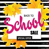 vector hand drawn back to school lettering sale label with leaves on watercolor striped background.
