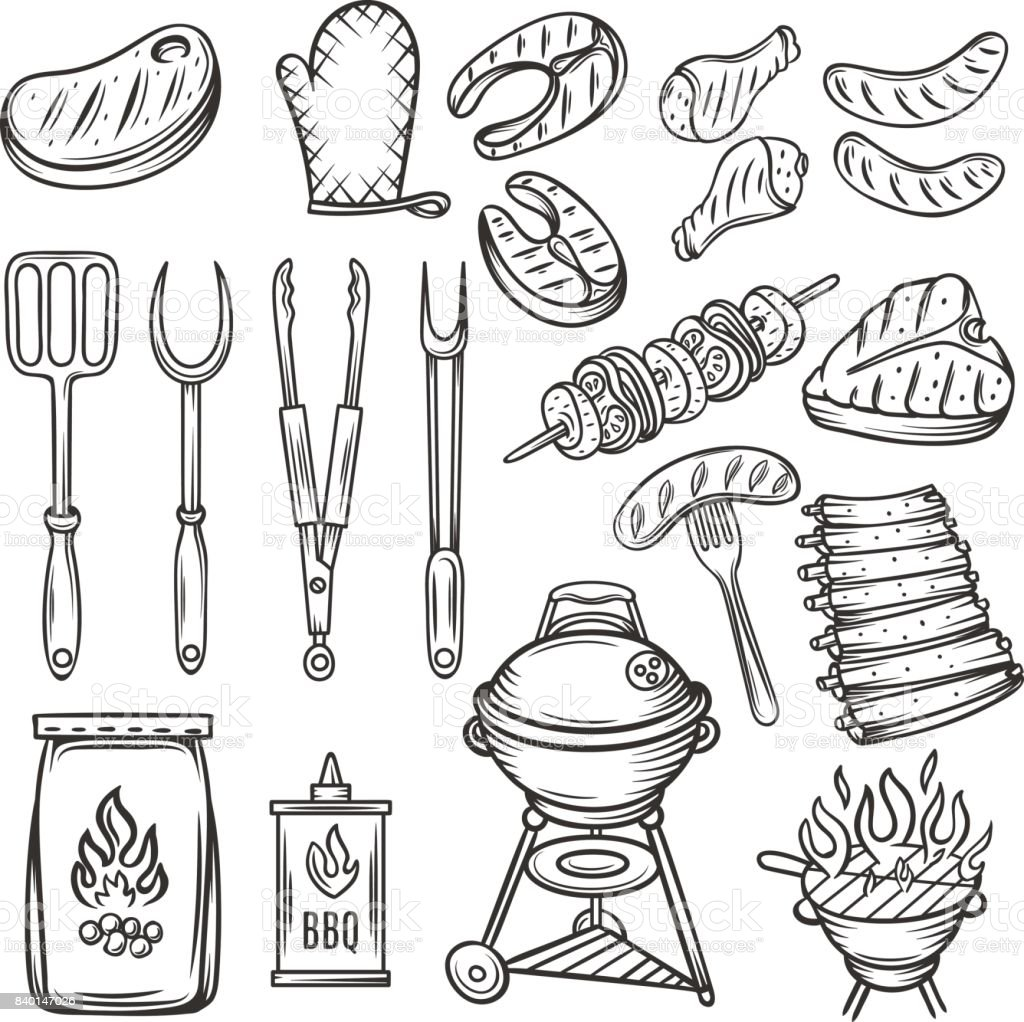 Vector Hand drawn barbecue icons set. vector art illustration