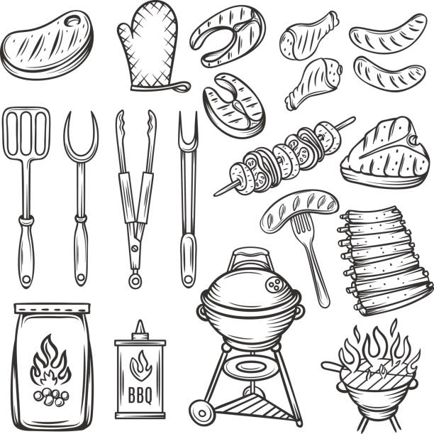 vector hand drawn barbecue icons set. - grilling stock illustrations