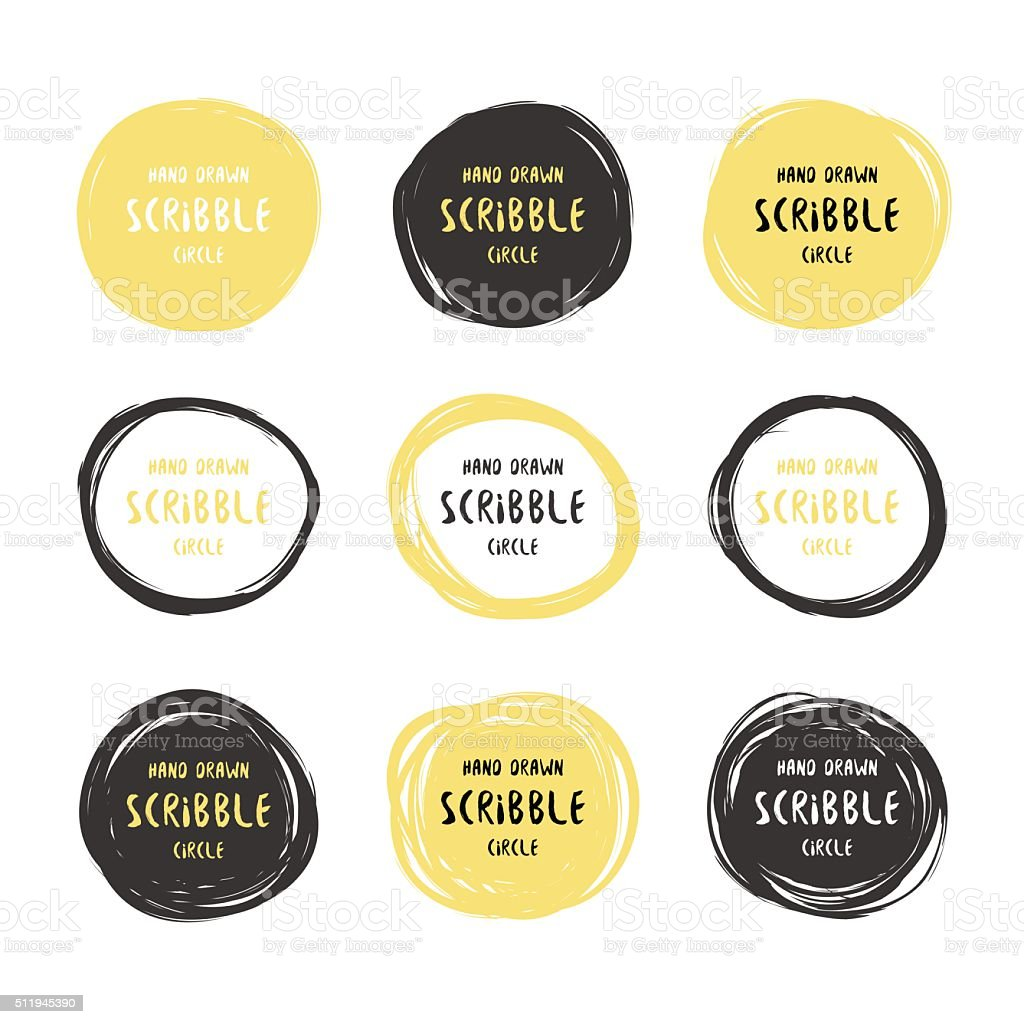 Vector hand drawn black and gold scribble logos
