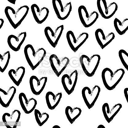 Vector hand drawn black and white seamless pattern in grunge style. Brush stroke, geometric shapes ornament illustration. Good for packaging paper, wallpaper and print design, etc.