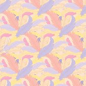 vector hand drawn boho seamless pattern with colored feathers