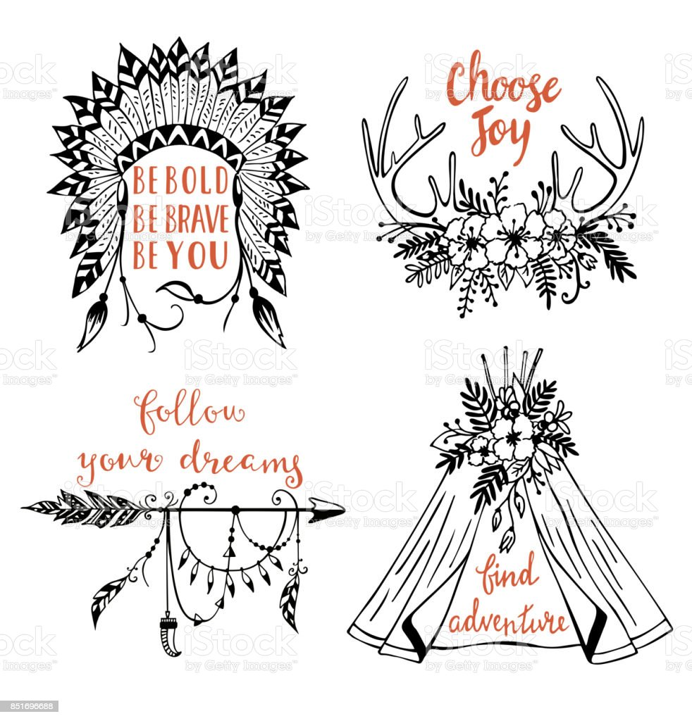 Vector Hand Drawn Boho Style Design Elements With Inspirational Quotes Royalty Free