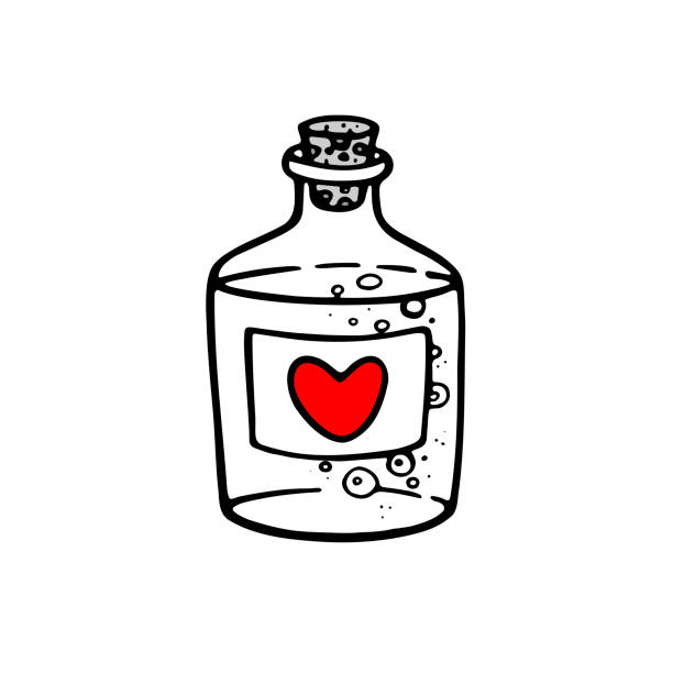 Vector hand drawn bottle with magic love potion. Outline doodle icon. Vector hand drawn bottle with magic love potion. Outline doodle icon. Sketch illustration for print, web, mobile and infographics isolated on white background. Valentine's day theme. drawing of a glass liquor flask stock illustrations